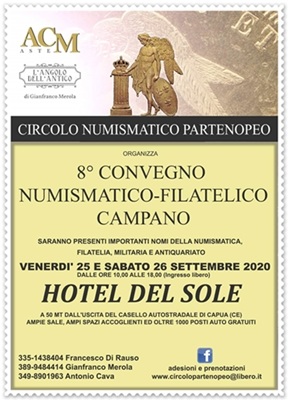25-26 Settembre 2020 - Ottavo Convegno numismatico filatelico campano - Pastorano (CE)
